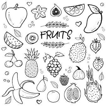 Fruits de griffonnage dessinés à la main