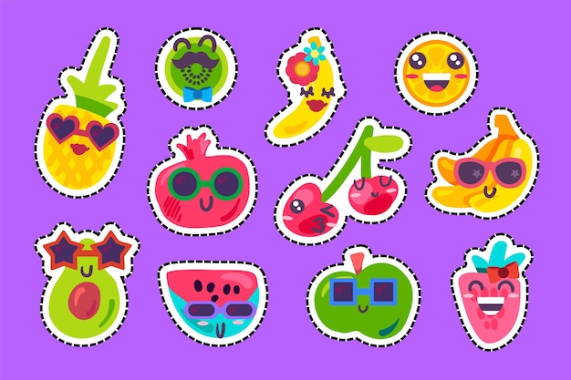 Fruits heureux emoji émotion collection définie vecteur. pastèque et fraise, ananas et cerise, banane et pomme avec une expression positive. émoticône comique souriant et embrassant une illustration plate