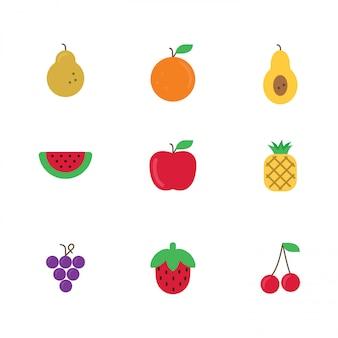 Fruits icônes colorées