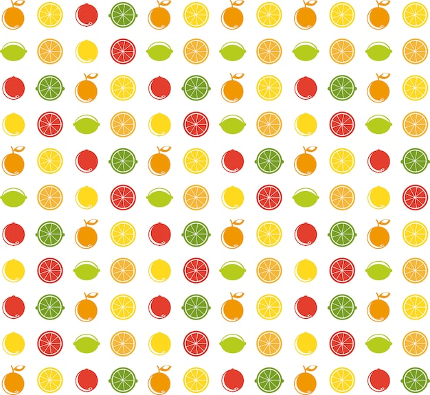 Fruits sur illustration blanche