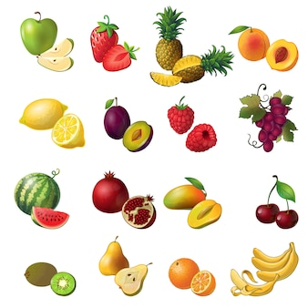Fruits isolés ensemble de couleur avec des fruits et des baies de différentes couleurs et tailles