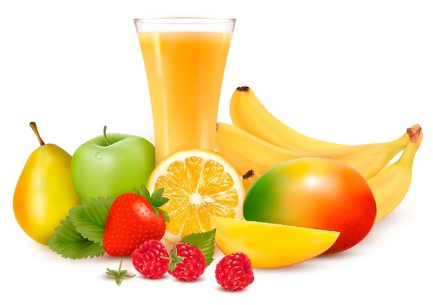 Fruits et jus de couleur fraîche