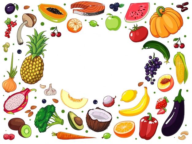 Fruits et légumes dessinés à la main