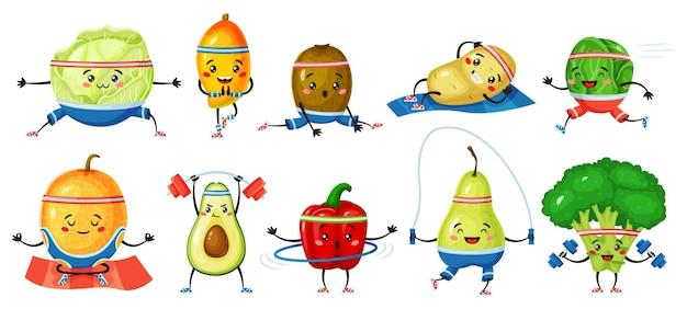 Fruits et légumes exerçant le melon kiwi dans le yoga pose le brocoli avec des caractères vectoriels d'haltères