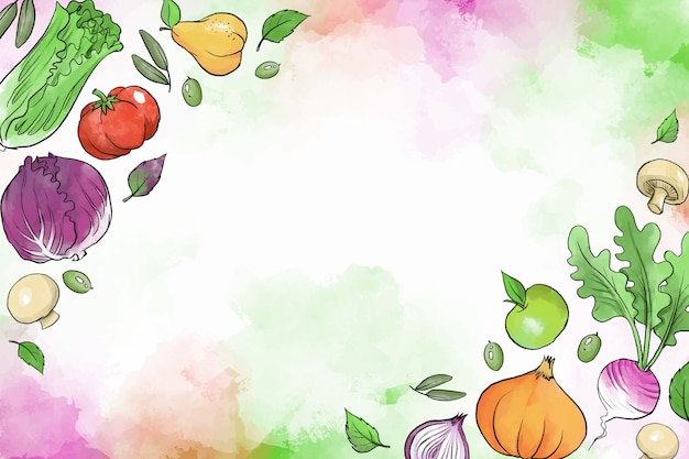 Fruits et légumes fond dessiné à la main