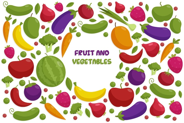 Fruits et légumes de style d'arrière-plan