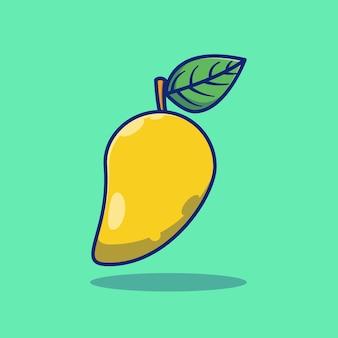 Fruits de mangue mûre fraîche vector illustration design concept premium