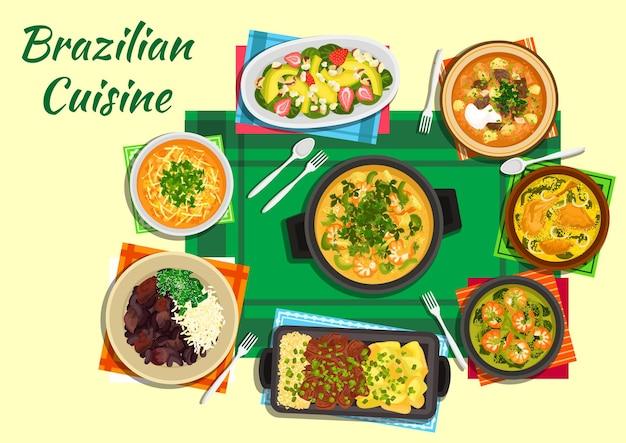 Fruits de mer brésiliens traditionnels et ragoûts de haricots noirs icône plate servi avec boeuf aux tomates et soupes de lentilles épicées, crevettes épaisses