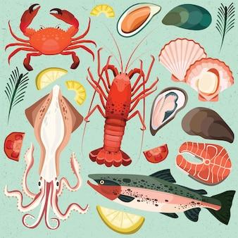 Fruits de mer calmar homard crabes coquillages crustacés saumon plat menu de la mer
