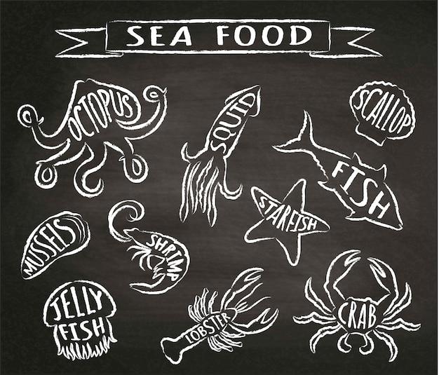 Fruits de mer craie illustrations vectorielles contour sur tableau noir, éléments pour la conception de menus de restaurant, décor, étiquette. contours grunge texturés à la craie d'animaux marins avec noms.