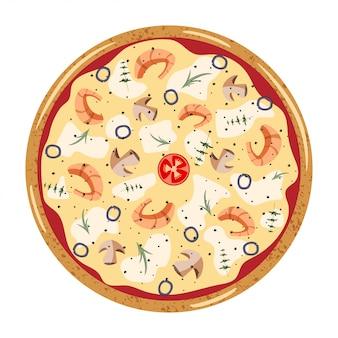 Fruits de mer entiers pizza vue de dessus avec différents ingrédients