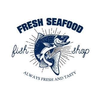 Fruits de mer frais. modèle d'emblème de magasin de fruits de mer. saumon sur fond blanc.