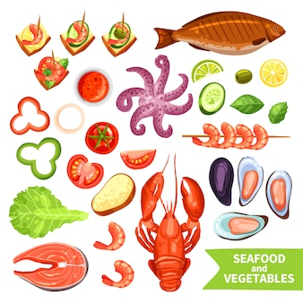 Fruits de mer et légumes icons set