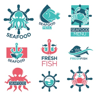 Fruits de mer logo coloré étiquettes plates définies sur blanc