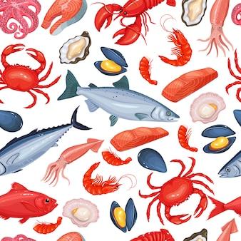 Fruits de mer de modèle sans couture