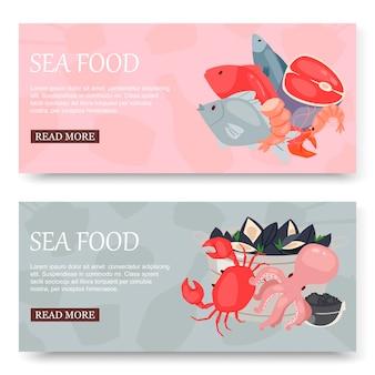Fruits de mer et poisson ensemble de bannières
