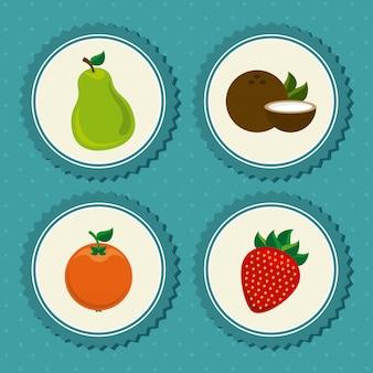 Fruits mis étiquette sur bleu pointillé