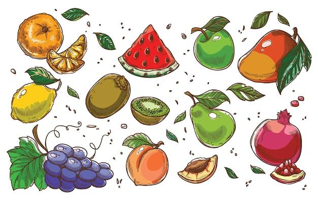 Fruits mûrs exotiques et tropicaux, ensemble de tranches de pastèque, citron à la pomme