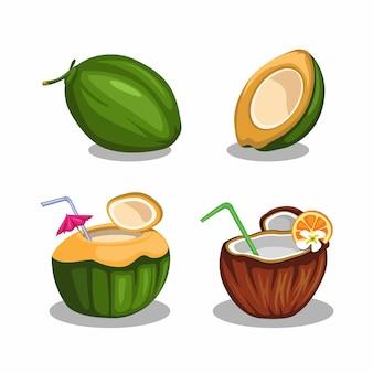 Fruits de noix de coco en tranches et ensemble de boissons