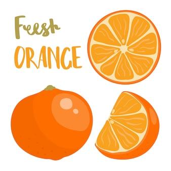 Fruits orange entiers et tranchés.