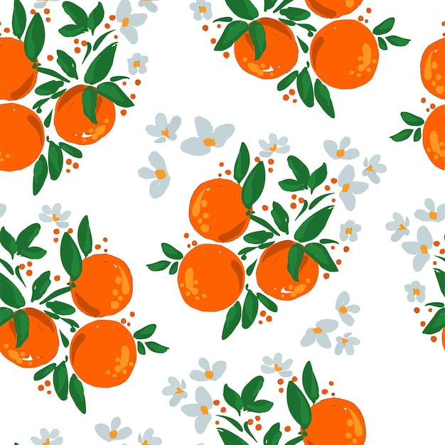 Fruits orange en fleurs dessinés à la main avec des feuilles et des fleurs illustration vectorielle de modèle sans couture.