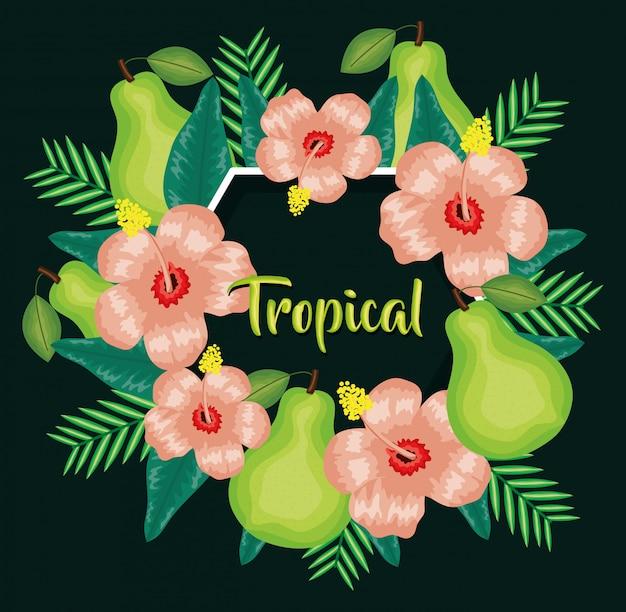 Fruits poires fraîches et décoration florale