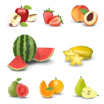 Fruits réalistes sur fond blanc ensemble isolé