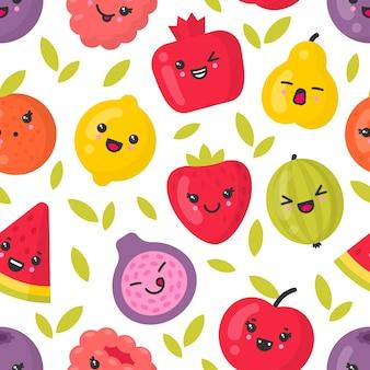 Fruits souriants mignons, modèle sans couture sur fond blanc. idéal pour le textile, la toile de fond, le papier d'emballage