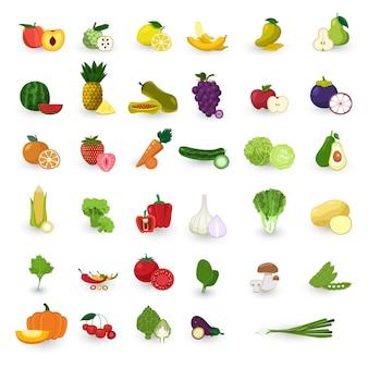 Fruits de style plat et jeu de vecteur de légumes.