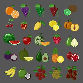 Fruits de style plat vector icon set