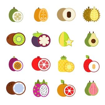 Fruits tropicaux dans un style plat