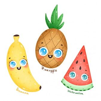 Fruits tropicaux exotiques de dessin animé mignon avec de grands yeux fixés. dessin animé ananas, banane, pastèque avec des noms