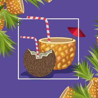 Fruits tropicaux frais à l'ananas et à la noix de coco
