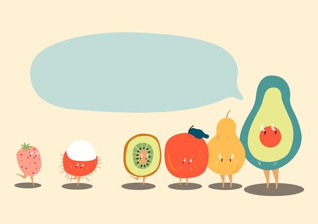 Fruits tropicaux frais avec un discours vide