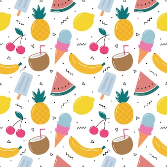 Fruits tropicaux mignons avec motif sans couture de crème glacée