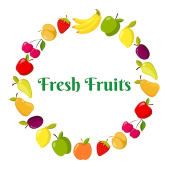 Fruits de vecteur et berrie dans un anneau