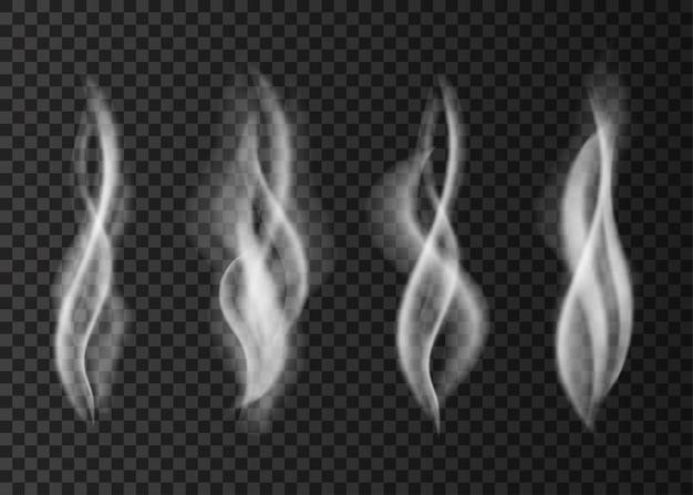 Fumée de cigarette blanche isolée sur transparent