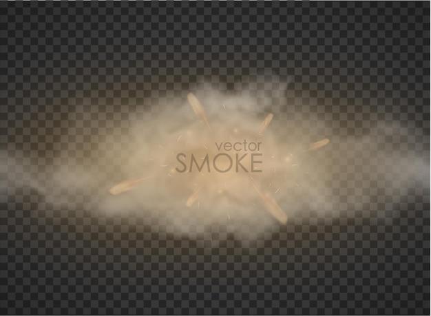Fumée avec flamme de brouillard isolé sur fond transparent