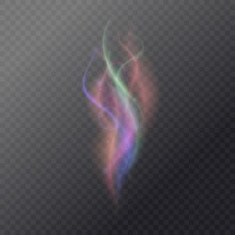 Fumée magique fluide sur fond sombre.