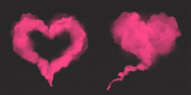 Fumée rose réaliste de vecteur en forme de coeur