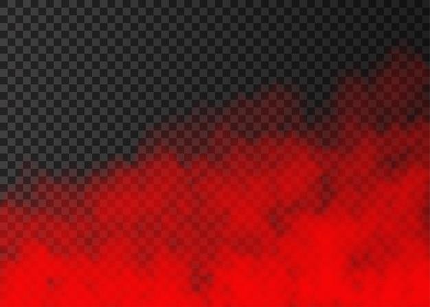 Fumée rouge isolée sur fond transparent effet spécial de vapeur