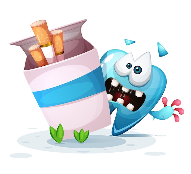 Fumer blesse vos dents illustration de dessin animé.