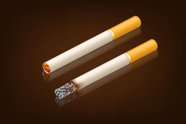 Fumer une cigarette neuve et fumée