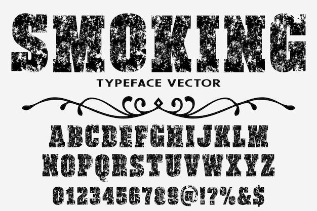 Fumer étiquette design alphabet