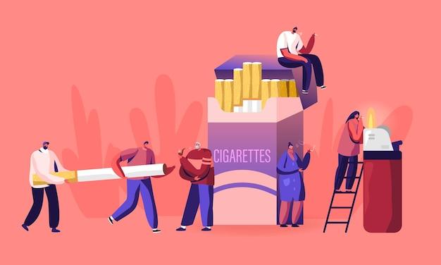 Les fumeurs et le concept de dépendance au tabagisme. illustration plate de dessin animé