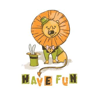 Fun lion cartoon circus savannah animal