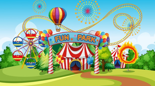 Fun park avec grande roue