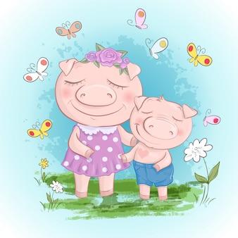 Fun pig family mère et fils. porcs drôles de bande dessinée et amis ou famille de porcelet.