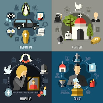 Funeral concept icons set