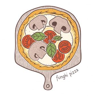 Funghi pizza, dessin illustration